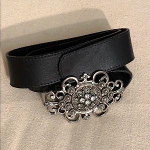 LEATHEROCK USA leather belt with rhinestone buckle